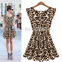 2014 Sexy Women Crew Neck Leopard Print Party Tunic Skater Swing Empire Waist Mini Dress Sundress  0101983