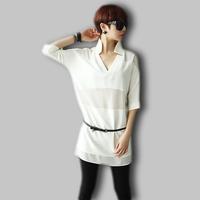 High quality XXXL Plus size clothing 2014 female loose shirt perspectivity stand collar women fashion chiffon shirt with belt