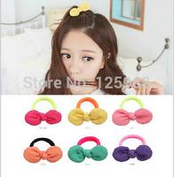 Free Shipping!New 50pcs/lot Fashion Women Hair Accessary Bowknot Neon Elastic Hair Ties Bands Ponytail Holder