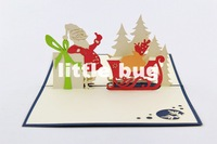 2014 3D Santa Claus& Presents Christmas Card/ Pop up cards Custom Cubic Greeting cards /Party invitation 10pcs/lot Free shipping