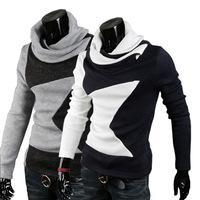 2014 HOT SELLING Pentagram Pattern Stitching New Winter Big Yards Heap Collar Fashion Casual Men's Sweater&Cardigan Men