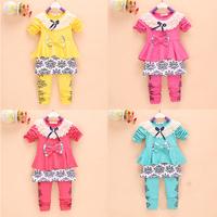 1 Set Retail spring fashion new design 100% cotton girls clothing sets T-shirt+pant suits children sport set kids clothes HB051