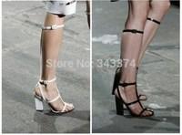 2014 trend black&white transparent strappy knee boots gladiator sandals Platform Show high heels pumps size 4 to 11