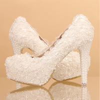 2014 women's fashion white high heels pumps female white lace married wedding shoes sy-339