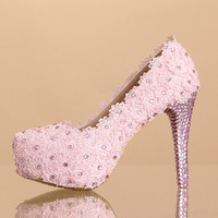 2014 women's fashion pink high heels pumps female pink lace rhinestone married wedding shoes sy-342