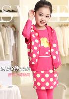 Kids \ Girls Autumn suits \ Children's sports suit \ 2014 new three-piece little girl dots