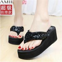 Amii platform flip slippers female platform flip flops wedges black paillette slip-resistant slippers summer female