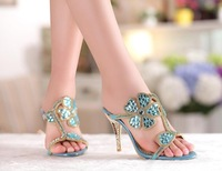 New 2014 Rhinestone flower high-heeled shoes genuine leather women shoes female slippers wedding party shoes, freee shippinbg