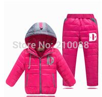 Hot Sell Children's 2014 Child down male female child fashion down coat set children winter coat jackets +pants sets suits