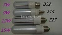 2pcs 2014 New E27 B22 E14 7W 9W 12W 15W 2835 SMD Spotlight LED PL Corn Bulb Lamp 360 Degree light AC85-265V Home Decor