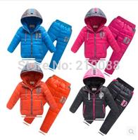 Free shipping 2014 Child down male female child fashion down coat set children winter coat jackets +pants sets suits