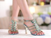 Women Shoes New 2014 female Sandals Genuine Leather Diamond Slippers Rhinestone flower Wedding Shoes High Heels Women Pumps