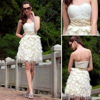 Vestido De Festa Curto Real Sale Chiffon 2014 Free Shipping Cream Ruffles Bridesmaid Dresses Open Backless Sexy Prom 6031