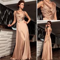 Vestido De Renda Rushed Chiffon A-line Beaded Formal Long Evening Dress 2014 New Arrival V Neck Gown Prom Vestido Festa 30741