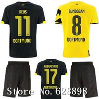 High quality BVB 14/15 Borussia Dortmund Home Away Soccer shirt+short kits 2015 REUS GUNDOGAN soccer jersey Football uniform kit