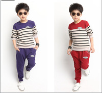 Boy Clothing Sets,5-14Age Teenage Boys Autumn Outfits,Children Striped Long Sleeve T shirt +Pants Set,Tracksuits Sweatshirts qd4