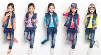 Children's clothing 2014 spring child denim coat vest female child baby set sports three piece suit