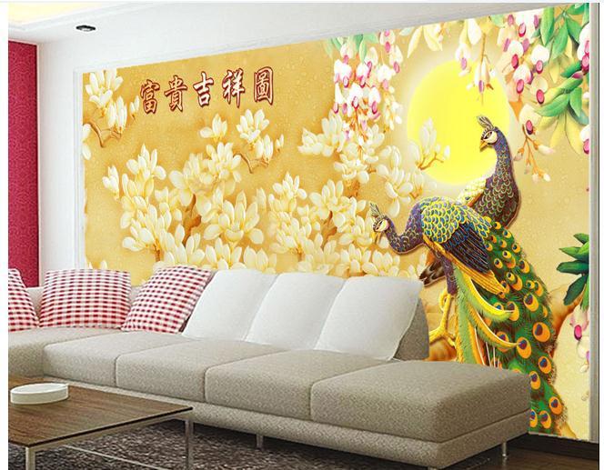 Papel de Parede Cor pavão esculpido magnólia riqueza e boa sorte mapa 3d wallpaper 298pk frete grátis !!(China (Mainland))