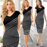 Fashion summer women's V-neck  stripe multi-layer patchwork hip slim one-piece dress evening dress pencil n690