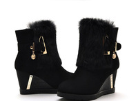 Mo Lei Kou Lei and waterproof boots boots boots with fur slope female high-heeled boots