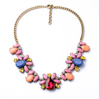 2014 Women Vintage Statement Necklace In Pink Statement Crystal Chokers Necklace 5pcs/lot FREE SHIPPING