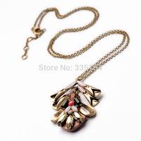 2014 Women Vintage Pendant Long Chain Necklace Statement Pendant Chains Necklace 8pcs/lot FREE SHIPPING