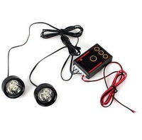 Wholesale-New RH-809 2pcs 3-LED Flash Strobe Light Lamp with Controller for Car/Motorcycle (White Light) Free shipping
