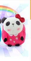 2014 canvas bag double plush cartoon panda couple backpack children bag explosion models Hot Specials