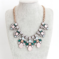 2014 Women Statement Chokers Necklace In Pink Crystal Chokers Necklace 5pcs/lot FREE SHIPPING