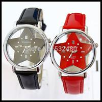 50pcs South Korean ladies fashion belts set auger watches, transparent hollow out star PU women's watch