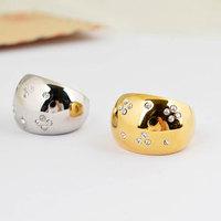 2014 Trendy titanium steel with zircon ring fashion non-mainstream ring for women
