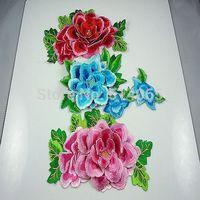 3pcs Fashion DIY 3D flowers motif applique embroidery for decoration high quality flowers A++
