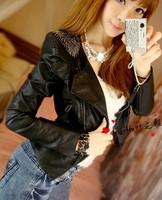 2014 New Arrival Women Leather Jacket Slim Leather Motorcycle Jacket Turn Dow Long Sleeve Zipper Jacket Coat