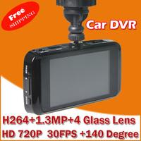 "Car Dvr HD 720P Full HD 2.7"" HD Screen+ 30FPS+G-Sensor+Night Vision+140 Wide Angle Lens Car Camera Video Recorder"