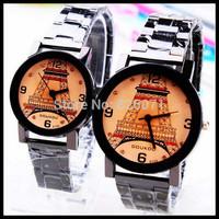 6pcs Han edition steel band fashion romantic Paris Eiffel Tower Couples quartz watches