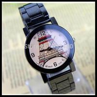 3 pairs(6pcs) Eiffel Tower steel strip lovers quartz wrist watch,Students watches