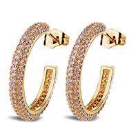 2014 trendy micro-setting zirconia earrings 18k gold for elegant ladies