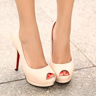 Frete grátis vento européias e americanas marca de moda boca de peixe sexy sapatos de salto alto , senhoras sapatos altos documentários(China (Mainland))
