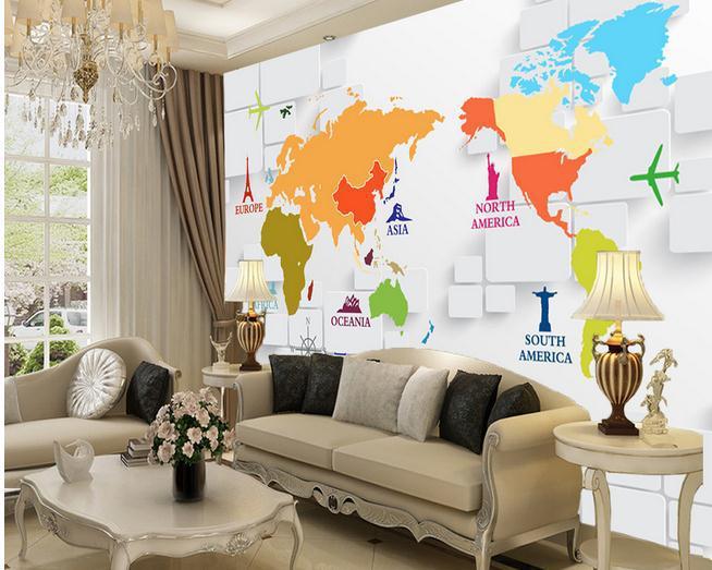 Papel de parede3D estereoscópico TV cenário mural mapa do mundo 3d papel de parede grátis frete 386yj(China (Mainland))