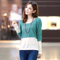 HOT2014Korean women loose hedging long-sleeved t-shirt women stitching round neck knit shirt
