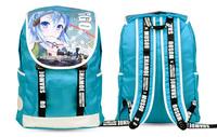 New Anime Cartoon Japanese Blue Sword Art Online Sinon Oxford Fabric Shoulders Laptop Purse Bag Packet Backpacks
