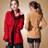 2014 winter new double-breasted big yards woolen coat female Korean Slim female short paragraph coat it