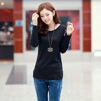 Autumn2014 new Korean women's long-sleeved shirt Slim lace stitching T-shirt Women
