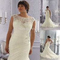 2014 Plus Size Wedding Dresses Mermaid Style Bride Dress 2014 Sexy Court Train Beaded Appliques Floor Length Long Organza