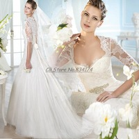 Cii Wedding bride dress French Lace deep V neck sexy qi floor length long sleeved wedding bridal princess gown
