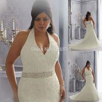 2014 Plus Size Halter Wedding Dresses With Train Sleeveless Mermaid Style With Beaded Waistband