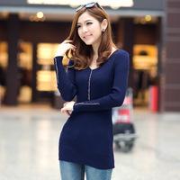 Autumn2014 Korean women sweater bottoming low collar stretch knit shirt