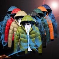 2014 men's winter down jacket men's hooded wadded coat winter thickening outerwear male slim casual outwear