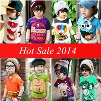2014 new chidlren clothing baby kids boys girls short-sleeve T-shirt child cartoon casual t-shirts