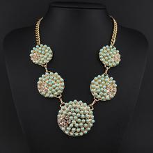 Women New Fashion Luxury Sweet Pearl Ribbon Bib Choker Statement Collar Necklace(China (Mainland))